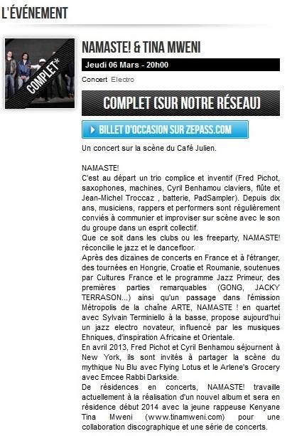 Første koncert med Tina Mweni & Namaste Electrojazz blev udsolgt.