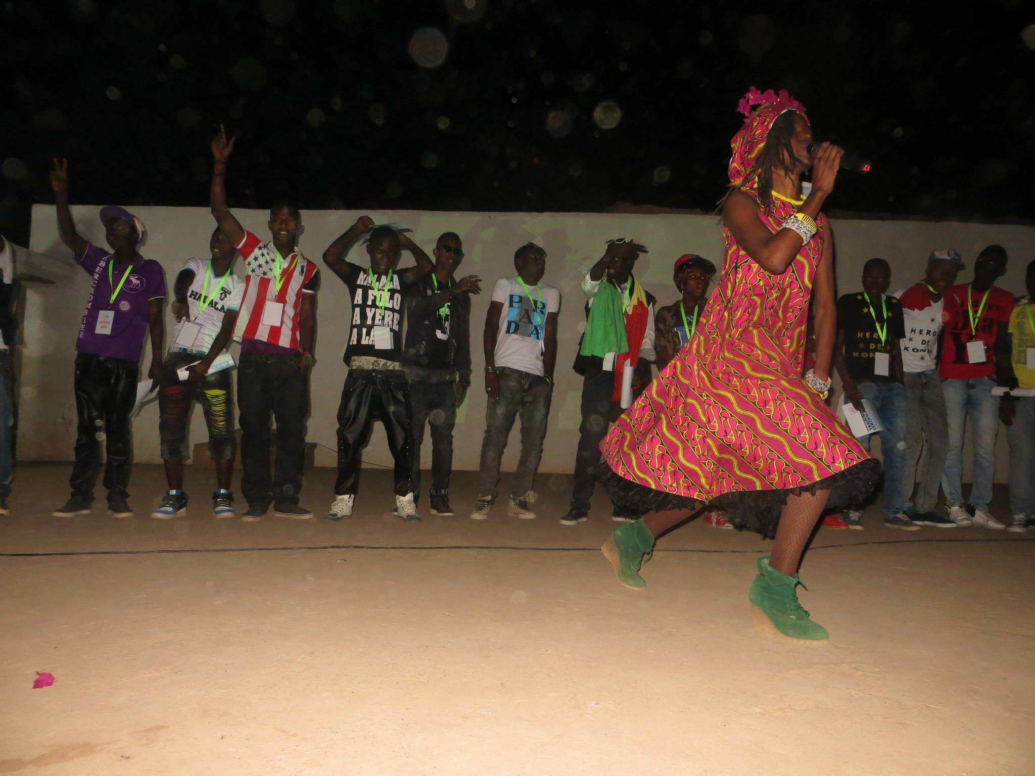 "Performing ""World wide Peace"" with youths in Mali."