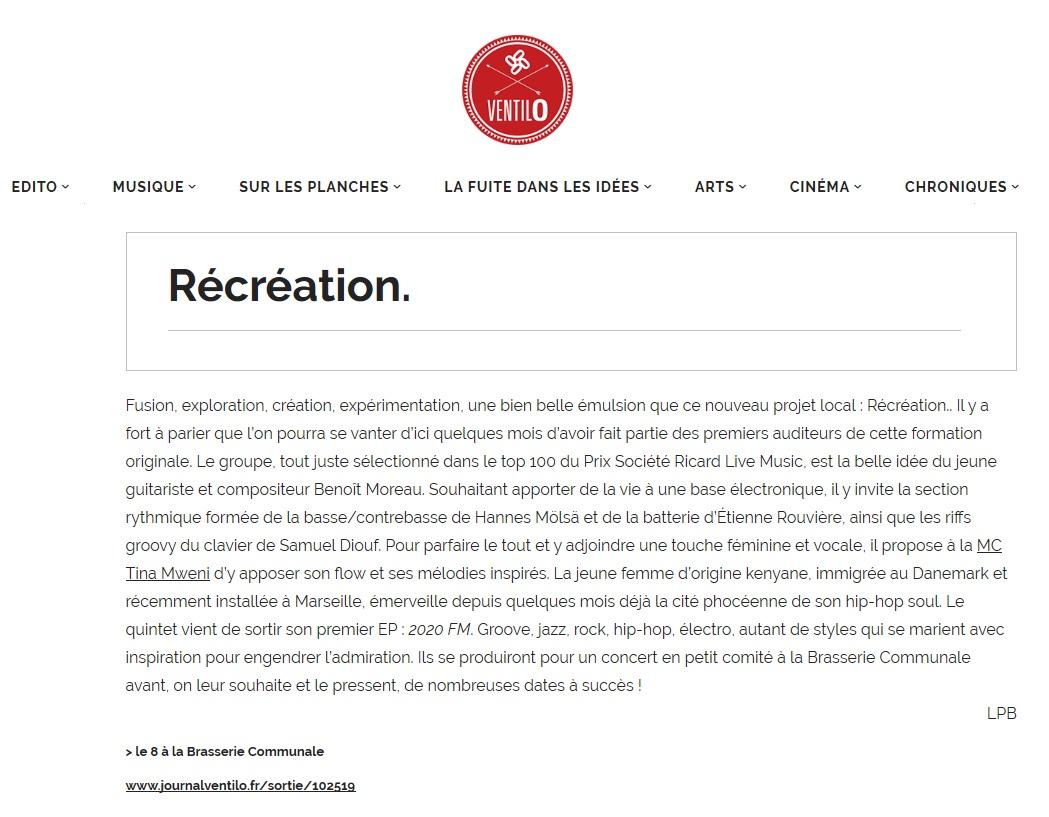 Recreation article Journal Ventilo 30-10-19