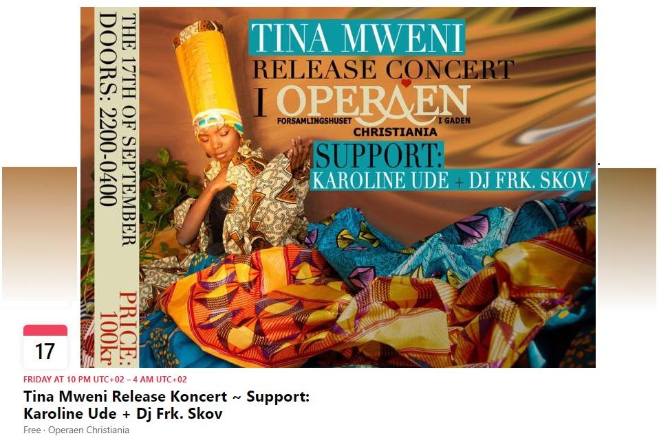 Tina Mweni - Release concert September 2021